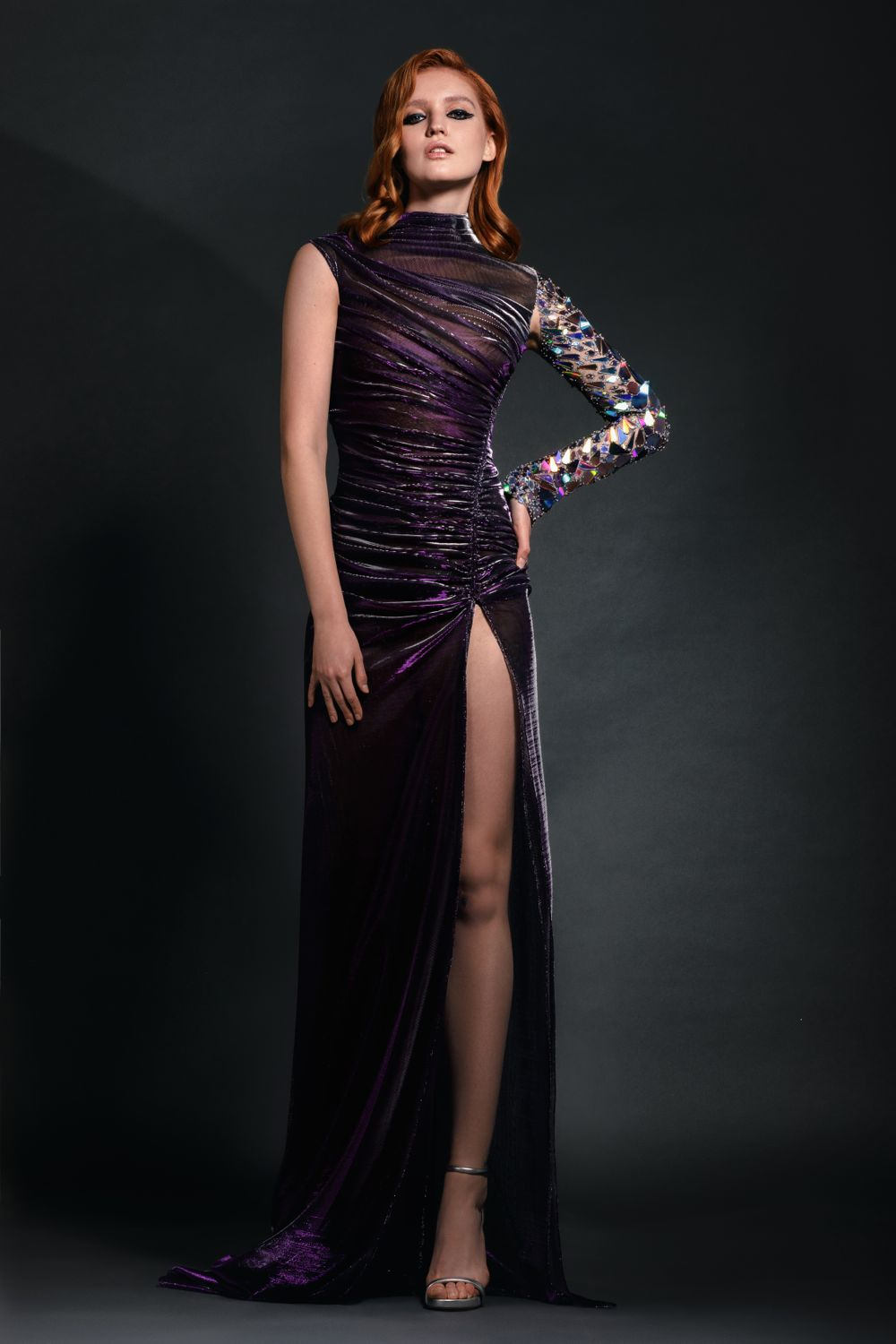 Holographic Plexi Embroidered Metallic Dress
