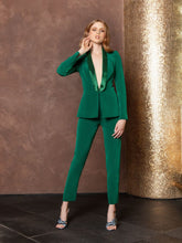 Collar-Beaded Blazer & Slim Trousers