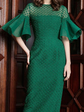 Box Pleated-Sleeved Dress