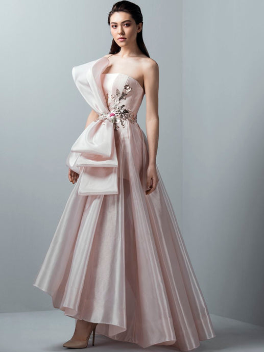 Metallic Strapless Gown