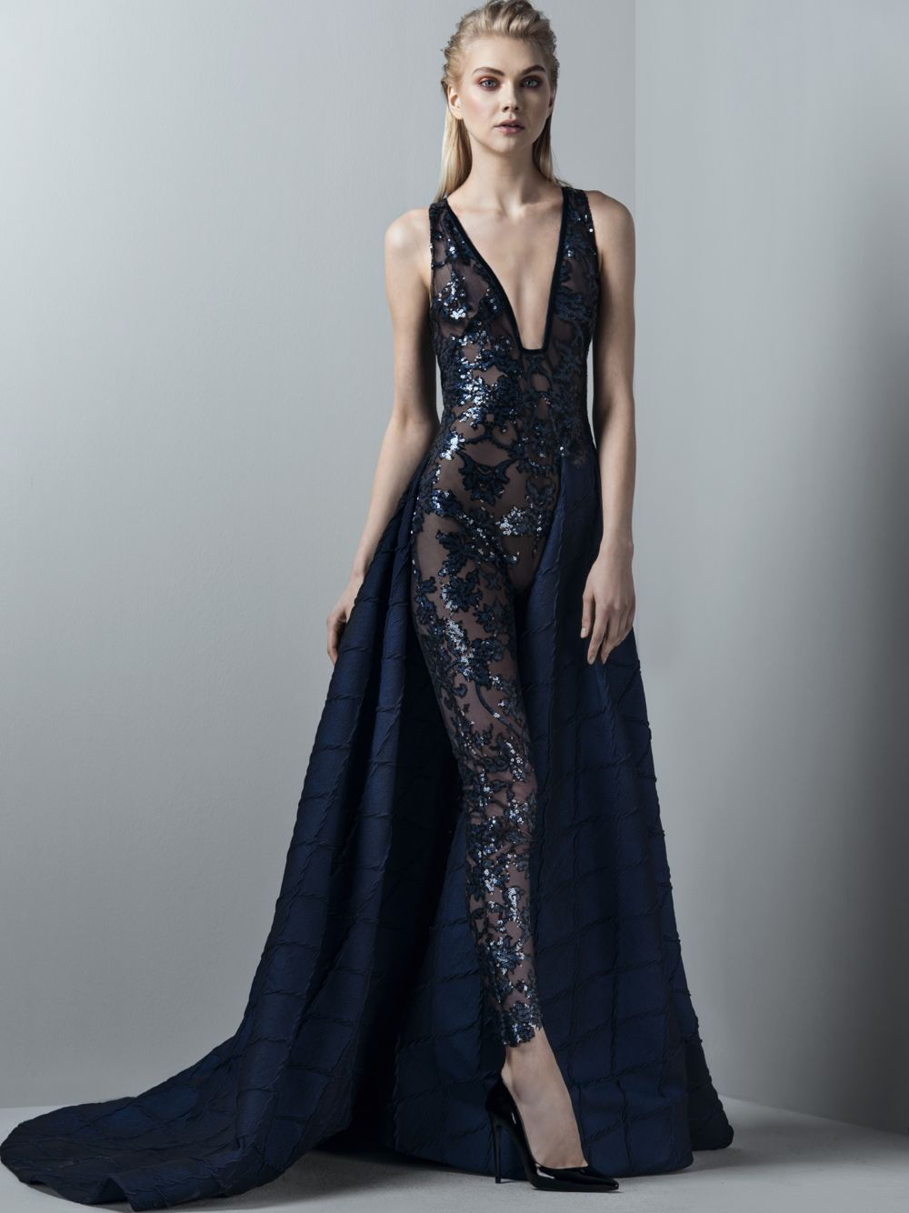 Embroidered Jumpsuit With Overskirt