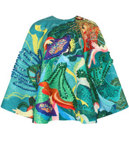 Embroidered Printed Cape
