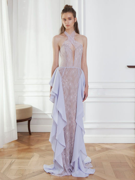 Lace Volant Gown