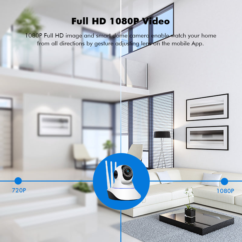 WiFi Smart Wireless IP Camera Home Security Surveillance Pan&Tilt Outdoor Security Camera Two Way Audio Motion Detection Clear Night Vision