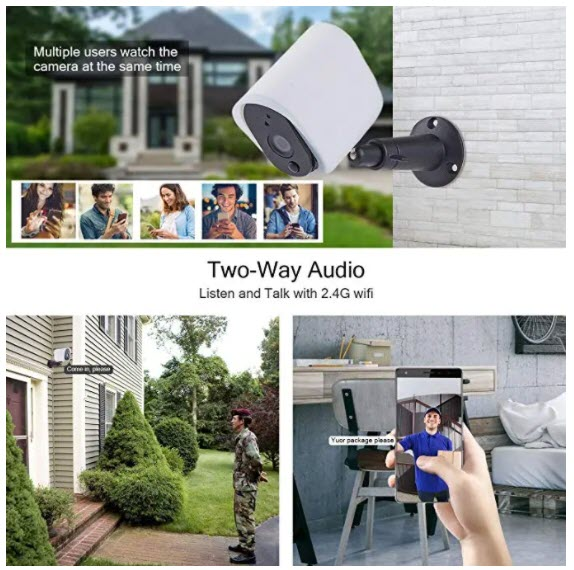 Wireless Solar Rechargeable Battery Powered Security IP Camera with Solar Panel, 1080p HD Waterproof Outdoor Home Surveillance with Motional Detection Two Way Audio Night Vision-Work with Alexa