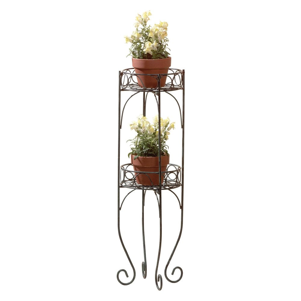 Tall Plant Stand,Two-Tier Corner Metal House Plant Stand