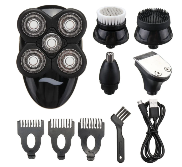 Razr XT™ 5 In1 Washable 4D Rechargeable Cordless  Electric Head Shaver Beard Trimmer Razor