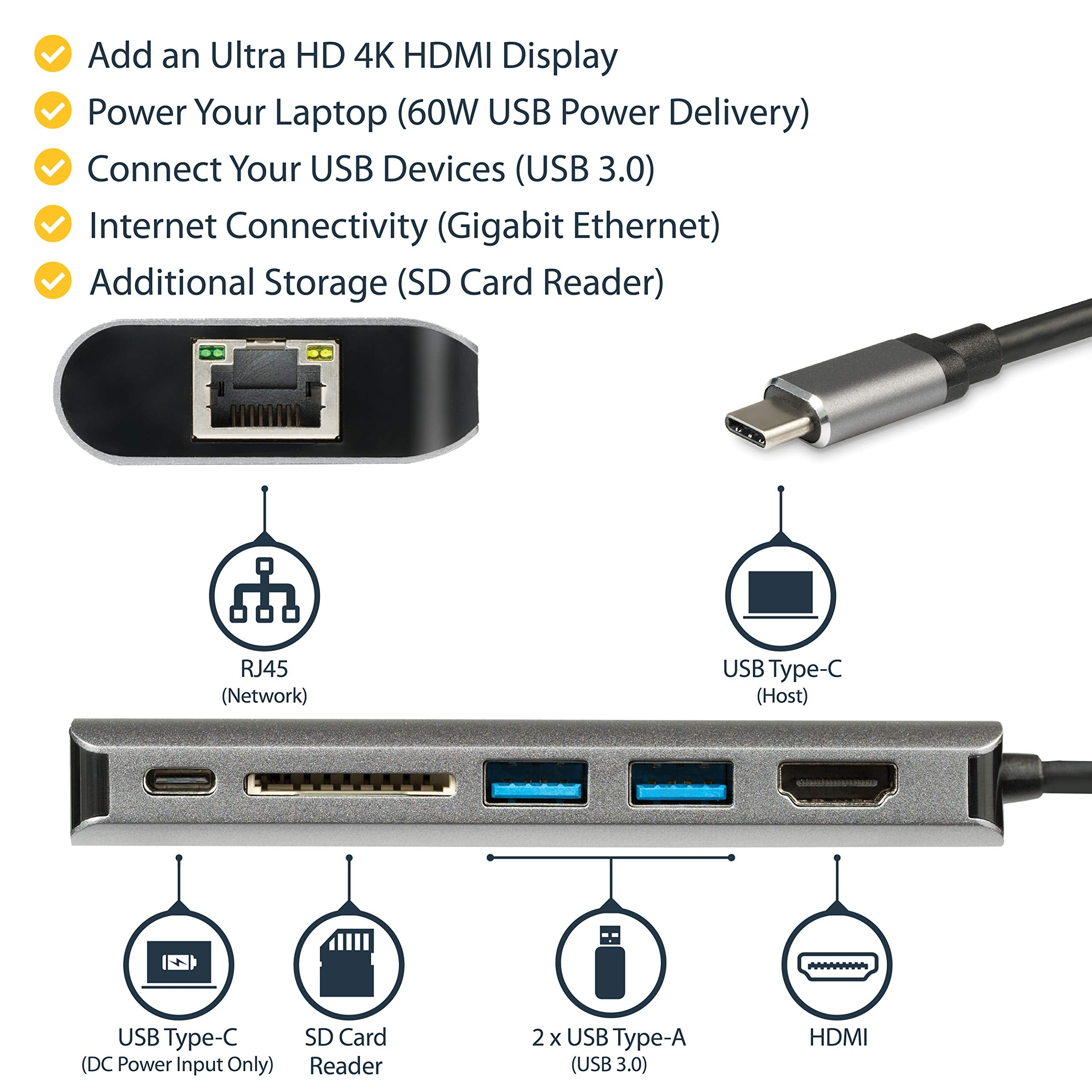 USB-C Multiport Adapter with HDMI - 4K - Mac / Windows - SD Card Reader - USB C to USB 3.0 Hub - 2x USB-A 1x USB-C - 60W PD 3.0