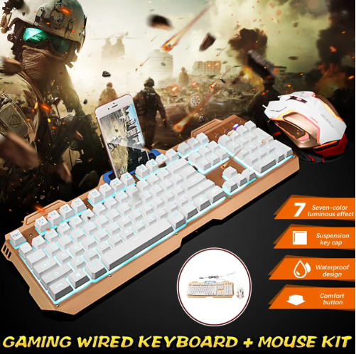 CLIQTEQ™ 104 Keys Backlight USB Wired Gaming Keyboard and Mouse Combo for Desktop PC Laptop - White