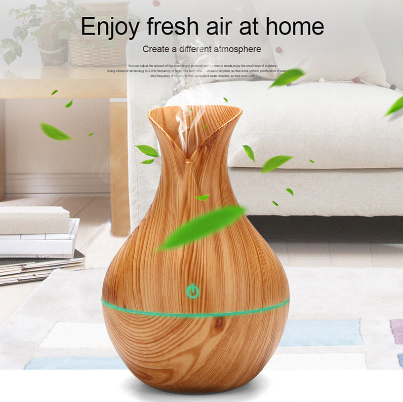USB Air Purifier Aroma Essential Oil Diffuser Humidifier Ultrasonic LED  Seven Color Light and Easy to Clean