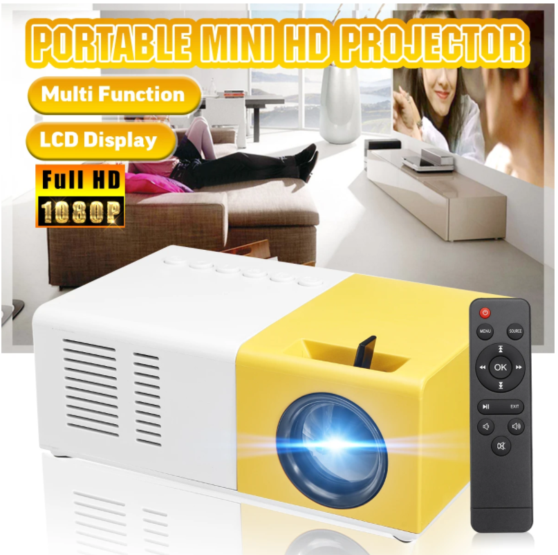 Mini Projector, Portable Pico Full Color LED LCD Video Projector for Children Present, Video TV Movie, Party Game, Outdoor Entertainment with HDMI USB AV Interfaces and Remote Control