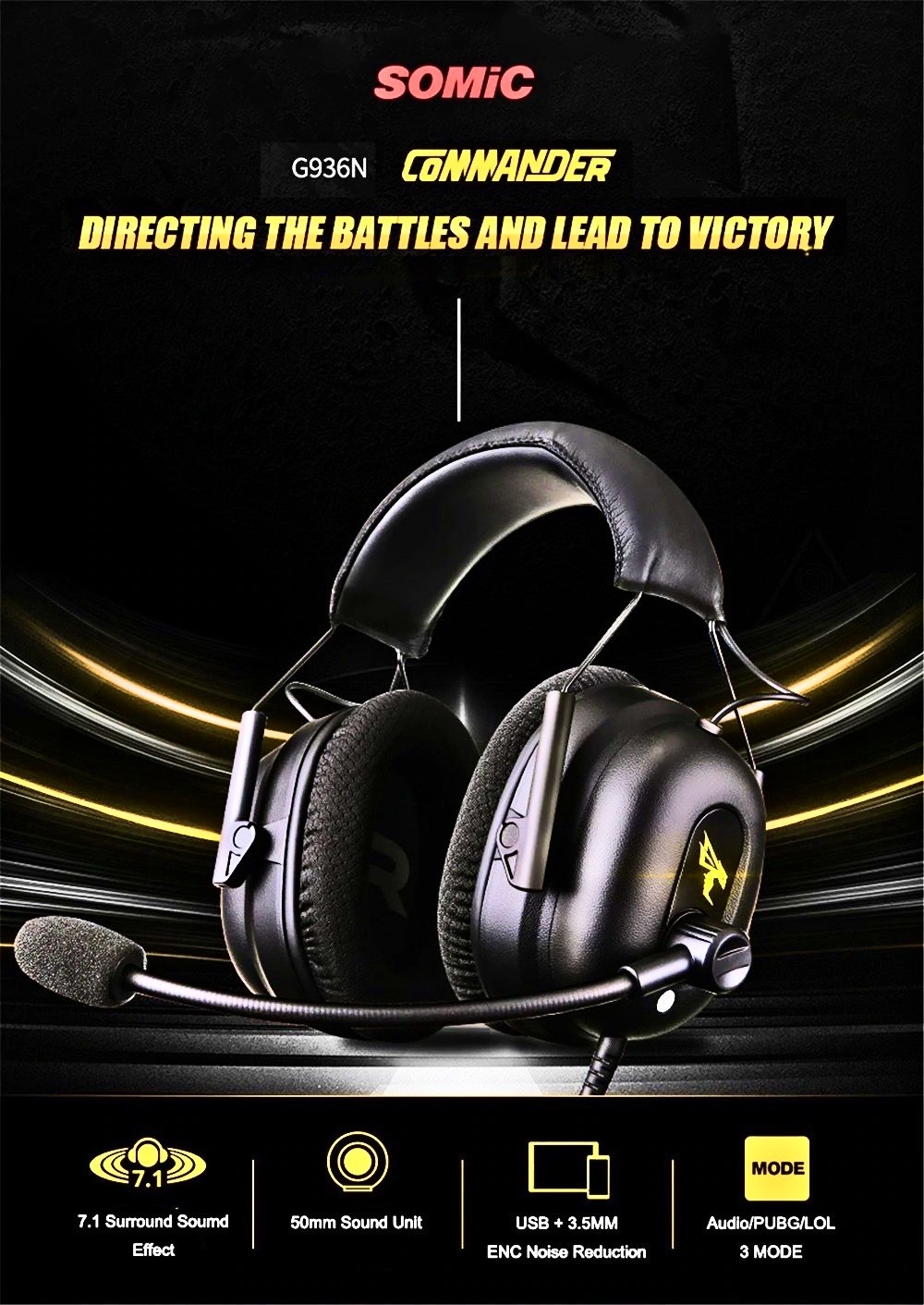 Somic G936N Gaming Headset 7.1 Surround Sound USB 3.5mm ENC Noise Cancelling Headphone with Mic