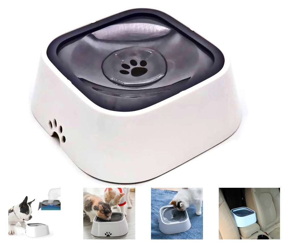 Portable Pet Water Bowl Anti-Overflow Design Dog Cat Slow Water Feeder Dispenser