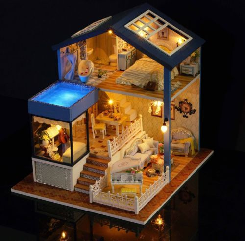 Exquisite Miniature DIY Doll House With Furniture And Lights