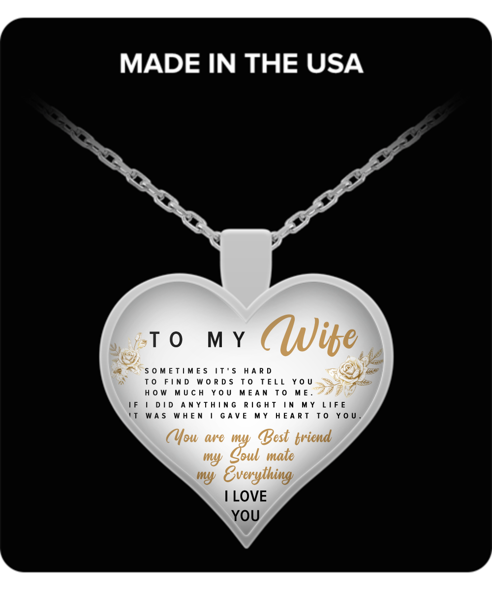 To My Wife Necklace - Perfect and Unique Gift Ideas for Birthdays, Mother's Day, Anniversary, Job Promotion, Appreciation or Thanksgiving from Husband, Men