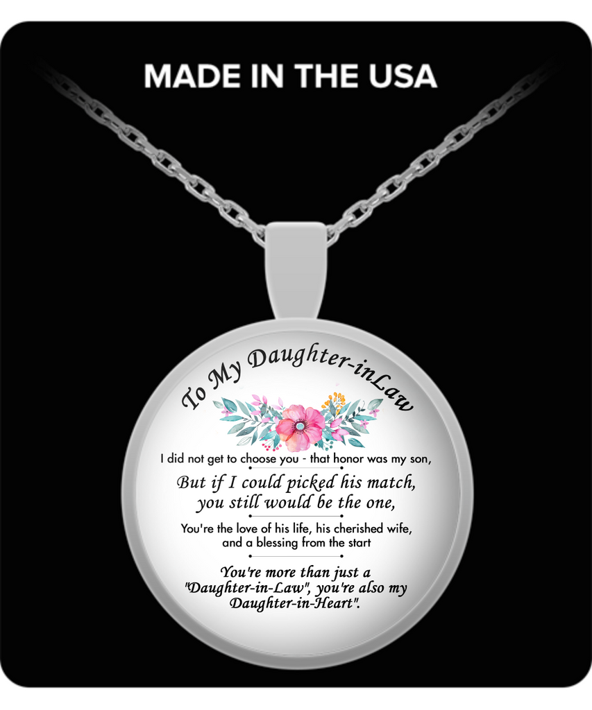 To My Daughter-in-Law Round Pendant Silver Plated Necklace - Unique Birthday,Christmas Gifts for Her,Daughter-in-Law from Father, Mother In Law