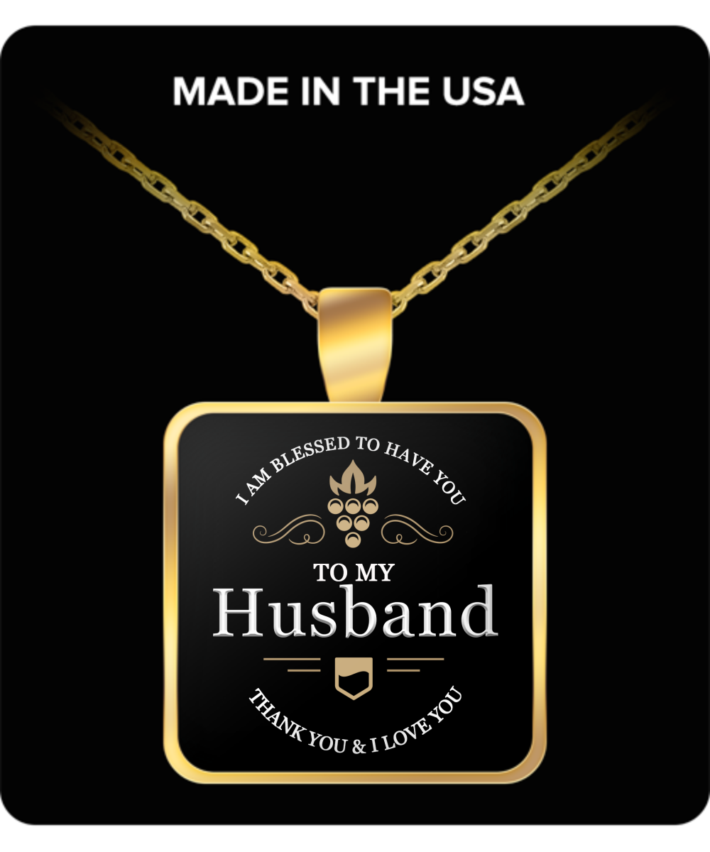 Husband Thank You and I Love You Square Pendant Gold Plated Necklace - Extreme Fathers Day Gifts Ideas for Him from Wife - Cool Presents For Father