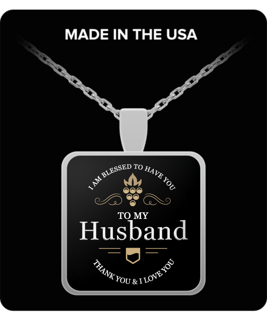 Husband Thank You and I Love You Square Pendant Silver Necklace - Extreme Fathers Day Gifts Ideas for Him from Wife - Cool Presents For Husband