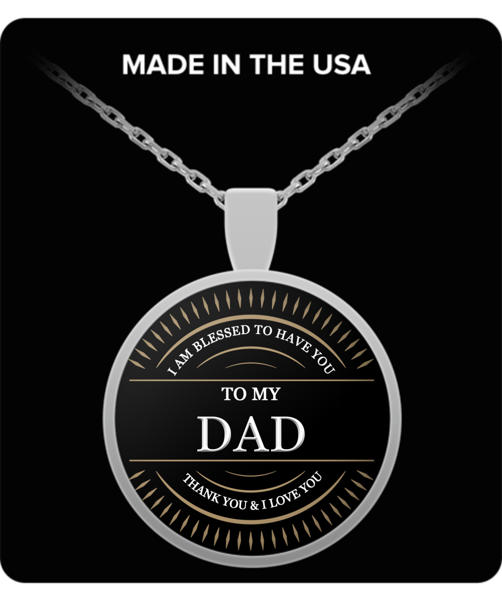 Dad Thank You and I Love You Round Pendant Silver Necklace - Extreme Fathers Day Gifts Ideas for Him from Son, Daughter, Wife - Cool Presents For Father