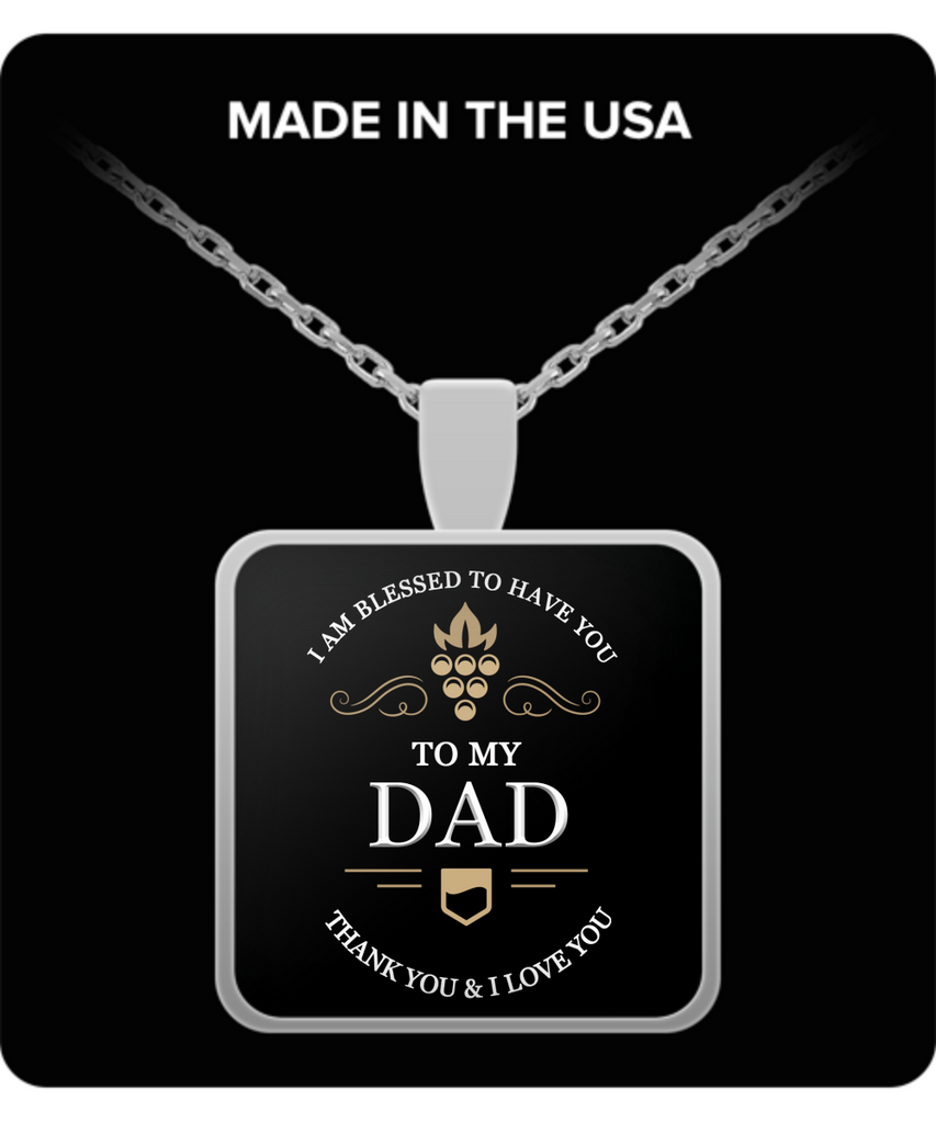 Dad Thank You and I Love You Square Pendant Silver Plated Necklace - Extreme Fathers Day Gifts Ideas for Him from Son, Daughter, Wife - Cool Presents For Father