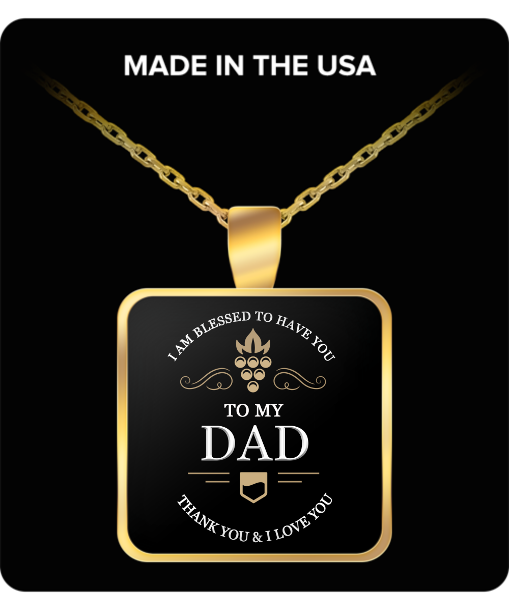 Dad Thank You and I Love You Square Pendant Gold Plated Necklace - Extreme Fathers Day Gifts Ideas for Him from Son, Daughter, Wife - Cool Presents For Father