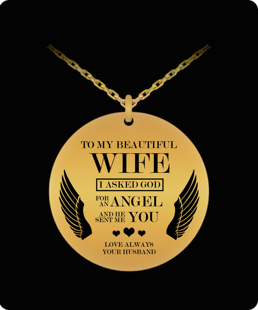 "Mother's Day Necklace for Wife ""To My Beautiful Wife"" - Awesome Gift for Wife from Husband - Unique Mothers Day and Birthday Gifts for Her from Husband"