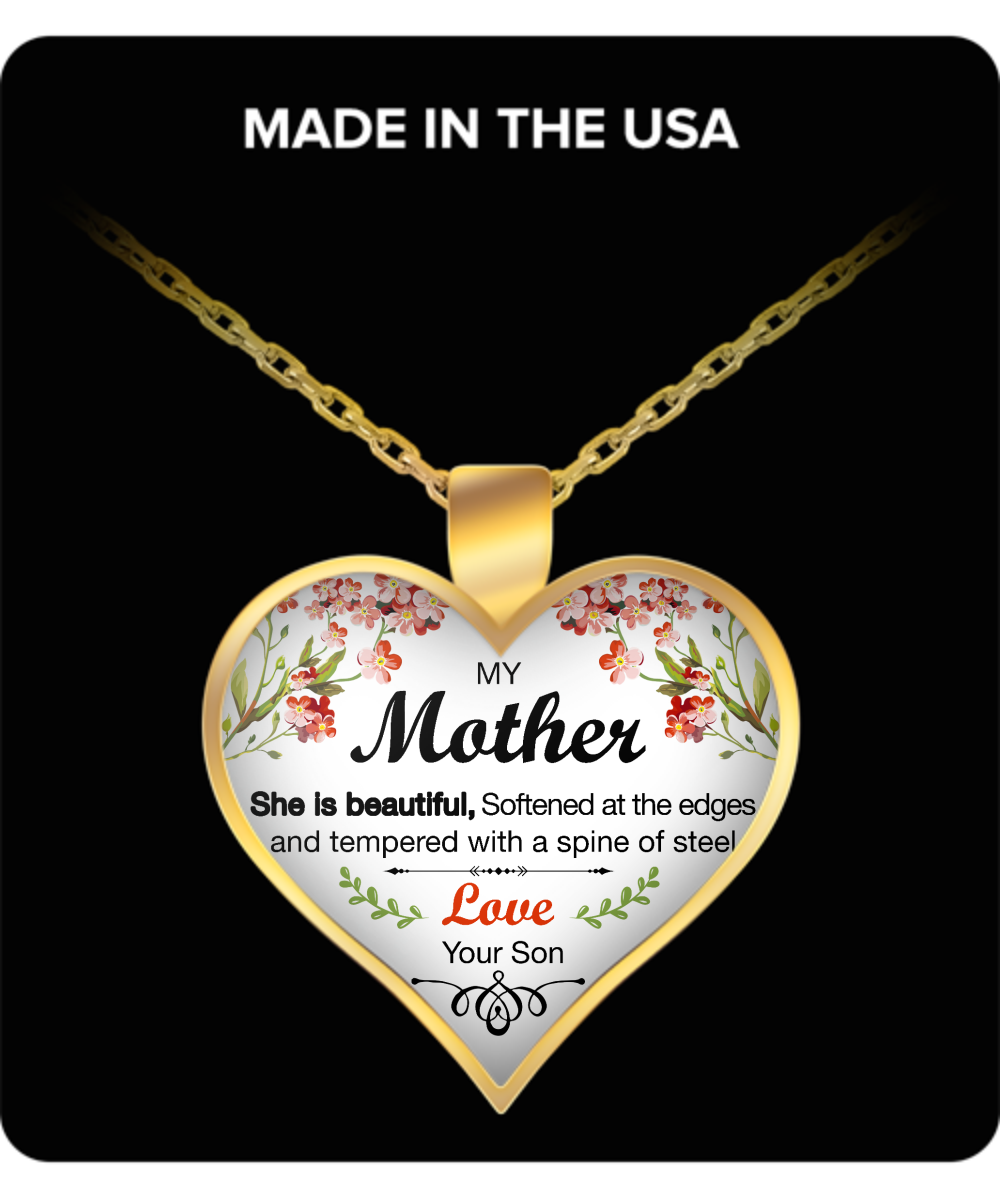 "Mother's Day Necklace for Mom ""She Is Beautiful"" - Awesome Gift for a Mother from Son - Unique Mothers Day and Birthday Gifts for Her from Son"