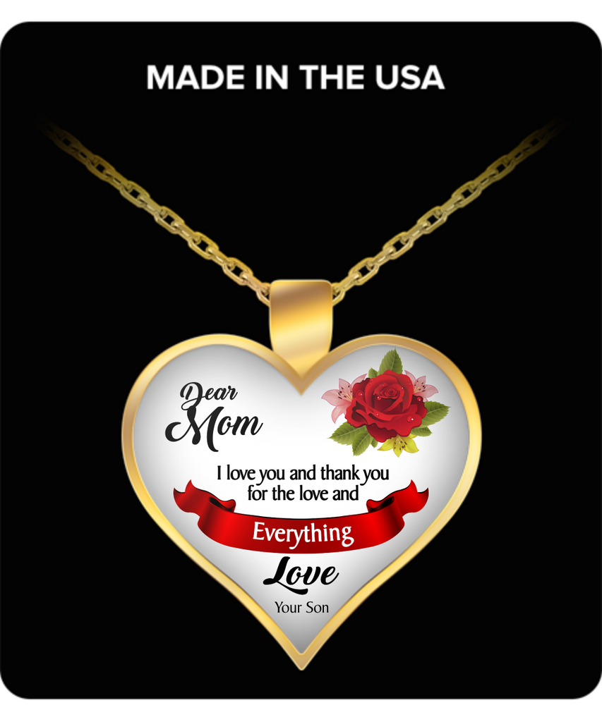 Dear Mom Necklace for Mom - Awesome and Unique Mothers Day and Birthday Gifts for Mom from Son