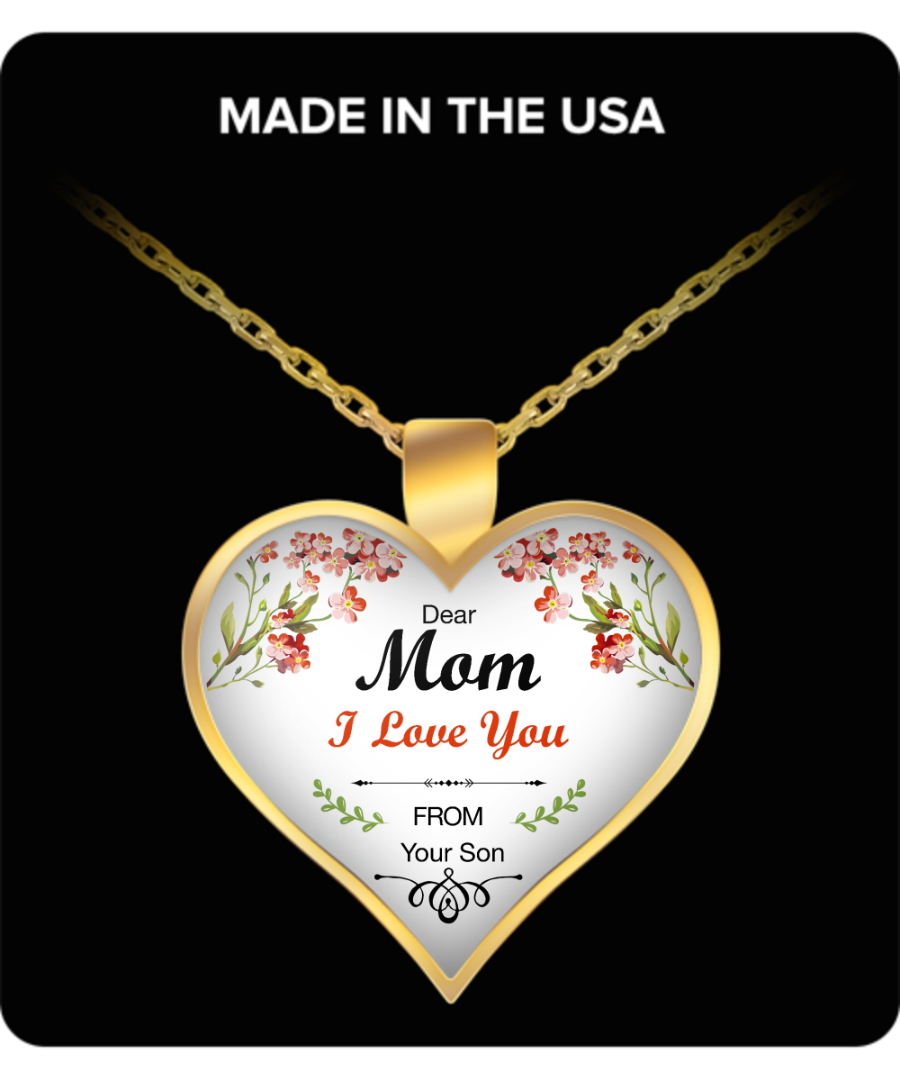 Dear Mom, I love You Mothers Day Necklace for Mom - Awesome Gift for a Mother from Son - Unique Mothers Day and Birthday Gifts for Her from Son