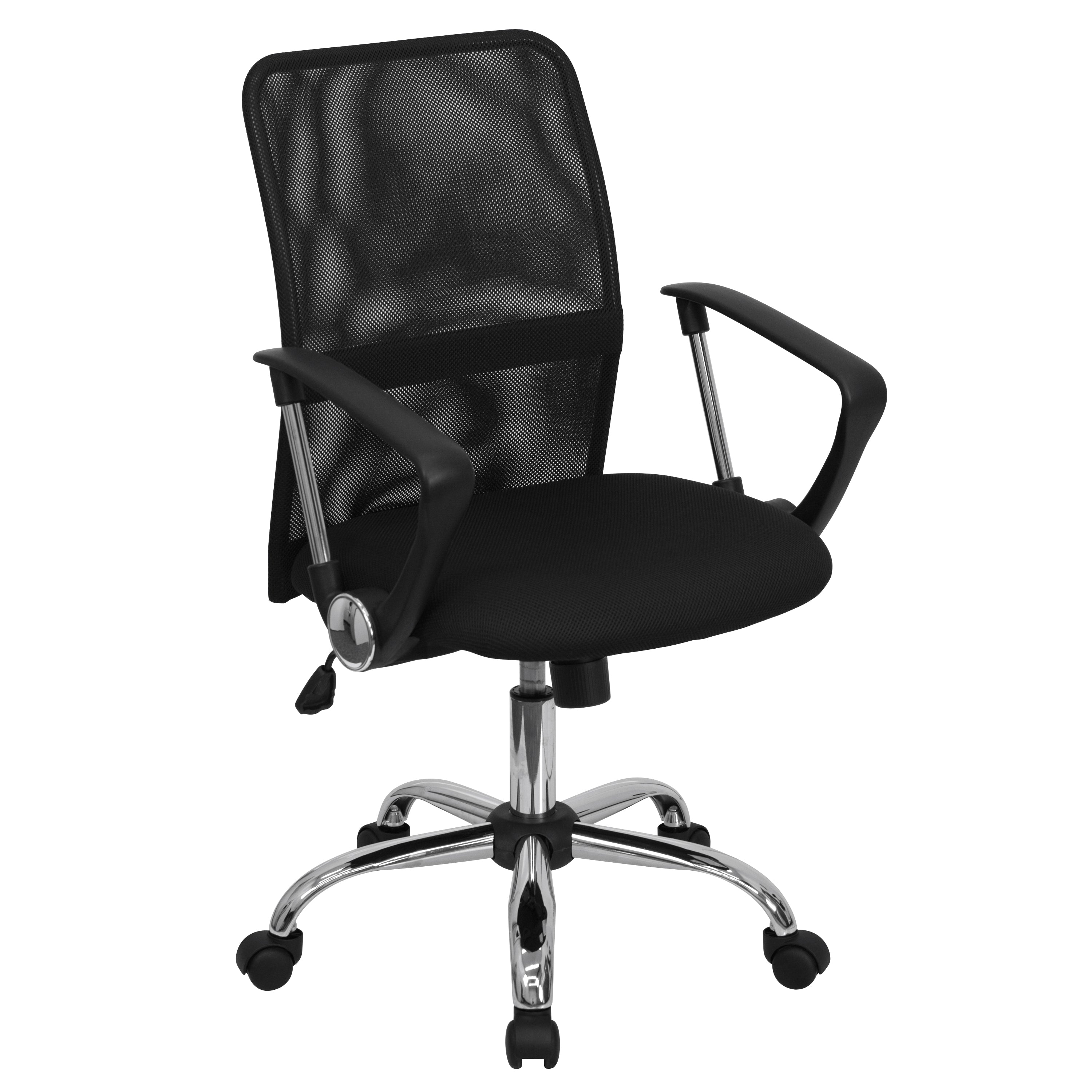 Mid-Back Mesh Swivel Task Office Chair with Lumbar Support Band and Arms