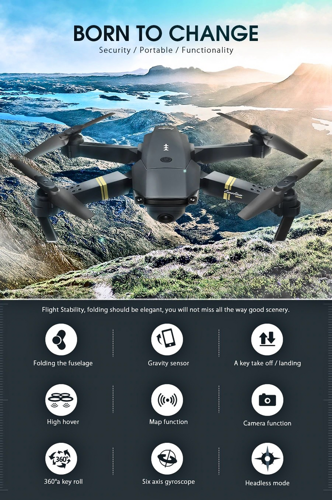 Quadcopter Drone with Camera Live Video,Eachine E58 WIFI FPV With 720P/1080P HD Wide Angle Camera High Hold Mode Foldable RC Drone Quadcopter RTF
