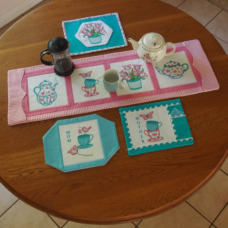 Bundle Coffee or Tea Tablerunner and Mugrugs