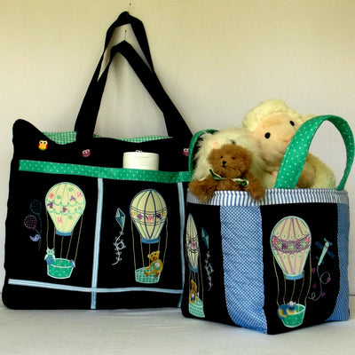Bundle Hot Air Balloons Diaper Bag and Toy Caddy