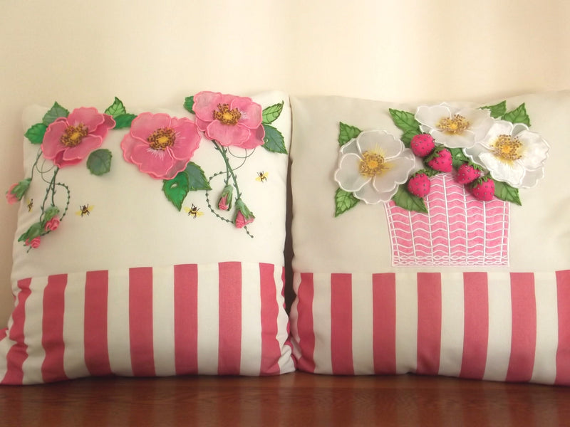Bundle Dog Roses and Strawberries Cushions/Pillows