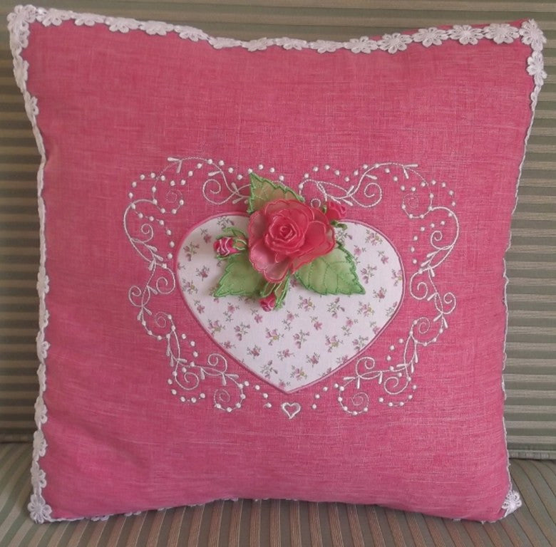 Rosebud Heart Cushion