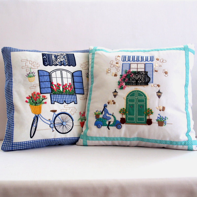 Bundle Italian Balcony and Vintage Paris Bicycle Cushion/Pillow