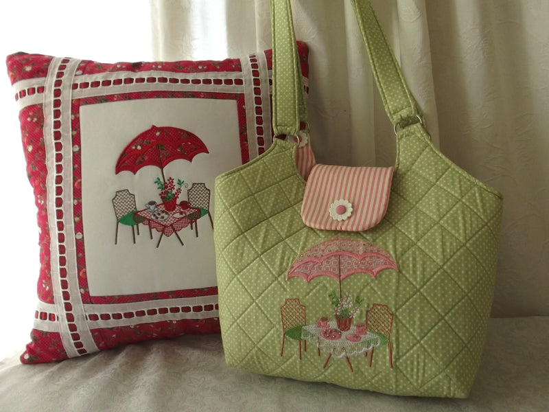 Bundle Tea in the Garden Handbag and Applique Cushion