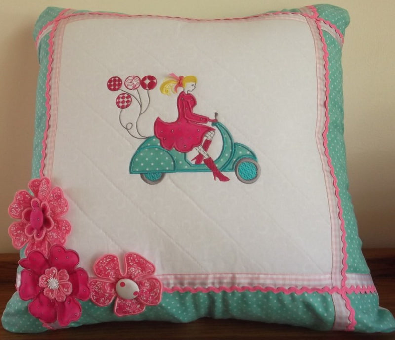 Vespa Party girl cushion