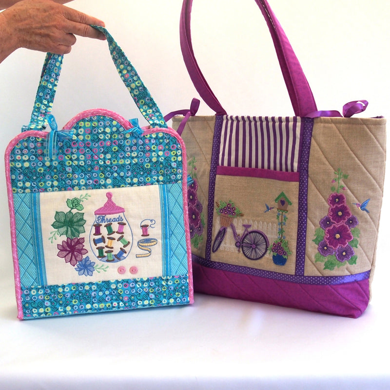 BUNDLE HOLLYHOCKS SEWING BAG AND ROCK ROSES SEWING CADDY