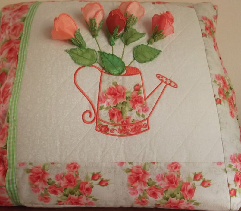 Watering Can with Rosebuds Cushion