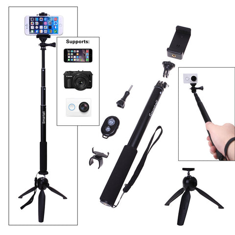 YUNTENG Tripod+Bluetooth Remote Camera Shutter+GoPro Selfie Stick Tripod Monopod For Samsung Edge NEO NOTE 5/4/7/For Sony Z5 M4