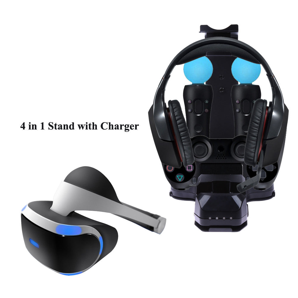 4 in 1 Stand with Charger Charging Station for PS4 PlayStation 4 PS VR Camera/Headset/ Dual Vibration 4 Move Controller