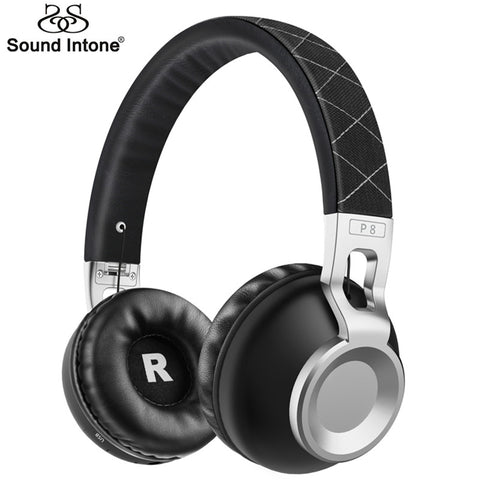 Sound Intone P8 Bass Metal Stretchable Headband Wireless Bluetooth Headphones With Mic Support TF Card Bluetooth 4.1 Headsets