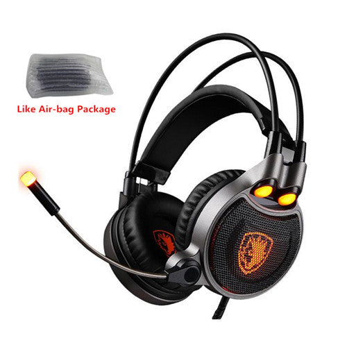 Sades R1 Gaming Headphone USB 7.1 Surround Stereo Computer Game Headset Gamer with Microphone Vibration LED Light fone de ouvido