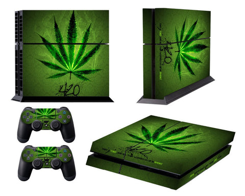 Front&Back PVC Skin Sticker dustproof waterproof Protection Decor Cover For Playstation 4 PS4 Controller PS 4-Green Leaf Pattern