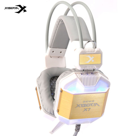 2016 NEW Xiberia X7 White Golden Gaming Headset with Microphone Game Headphone Glowing LED USB Earphone for PC CF Gamer for Man