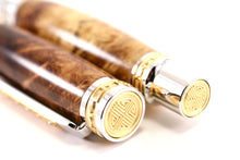 Honduran Rosewood Burl Wood Collector Fountain Pen Set - 12 Individual Fountain Pens and Display