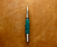 Premium Wooden Writer's Pen, Turquoise Box Elder Burl (449)