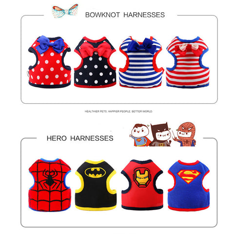 Walking Harness for Dogs and Cats -- Bowknot and Superhero Styles