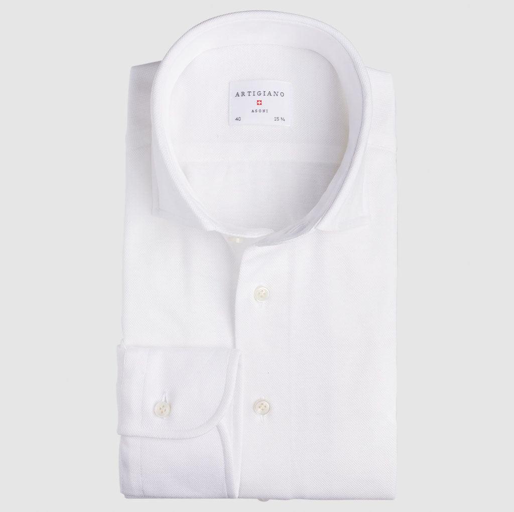 Slim Fit White Knitted Shirt